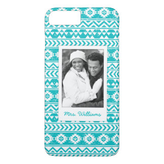 Custom Photo & Name Teal Aztec Tribal Pattern iPhone 8 Plus/7 Plus Case