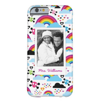Custom Photo & Name Teenage emo rainbow skull Barely There iPhone 6 Case