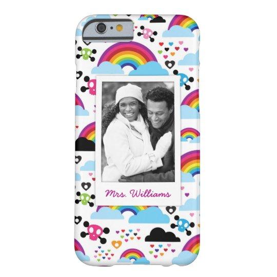 Custom Photo & Name Teenage emo rainbow skull Barely There iPhone 6 Case