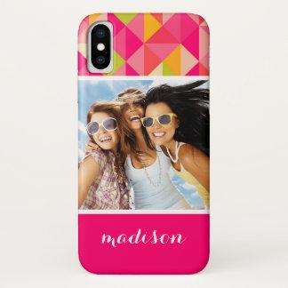 Custom Photo & Name Triangles geometrical pattern iPhone X Case
