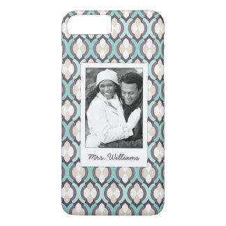 Custom Photo & Name Turquoise Moroccan Pattern iPhone 8 Plus/7 Plus Case