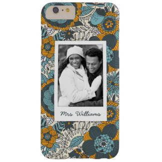 Custom Photo & Name Vintage floral pattern Barely There iPhone 6 Plus Case
