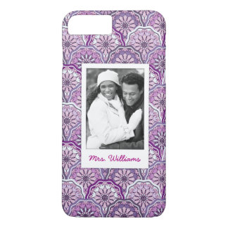 Custom Photo & Name Vintage Pattern iPhone 8 Plus/7 Plus Case