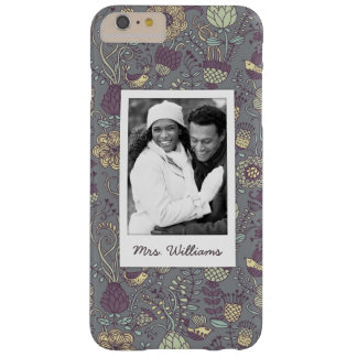 Custom Photo & Name Vintage Wallpaper Pattern Barely There iPhone 6 Plus Case