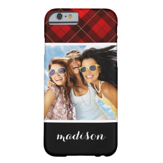Custom Photo & Name Wallace tartan background Barely There iPhone 6 Case