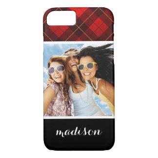 Custom Photo & Name Wallace tartan background iPhone 8/7 Case