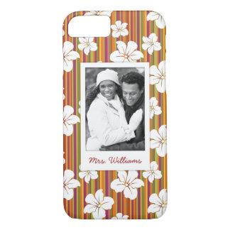 Custom Photo & Name White flowers on stripes iPhone 8/7 Case