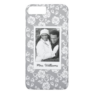 Custom Photo & Name White flowers on stripes iPhone 8 Plus/7 Plus Case