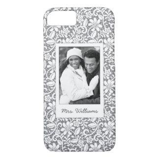 Custom Photo & Name White Lace 1 iPhone 8/7 Case