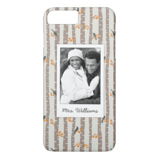 Custom Photo & Name with autumn trees and birds iPhone 8 Plus/7 Plus Case
