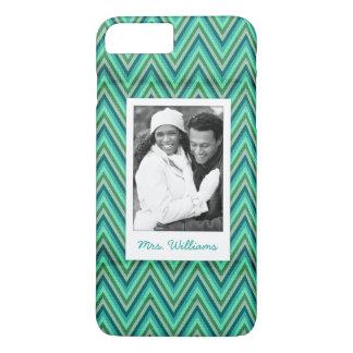 Custom Photo & Name Zig Zag Striped Background iPhone 8 Plus/7 Plus Case