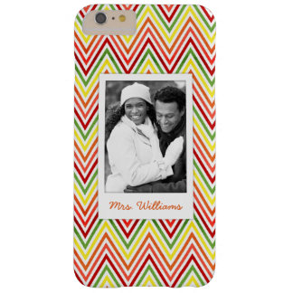 Custom Photo & Name Zigzag Chevron Pattern Barely There iPhone 6 Plus Case