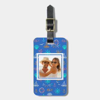 Custom Photo Nautical Chalk Drawing Pattern 1 Bag Tag