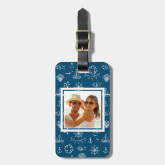 Custom Photo Nautical Chalk Drawing Pattern 2 Bag Tag