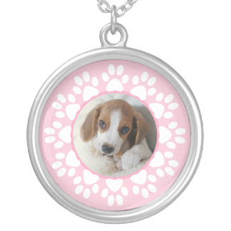 Custom photo necklace pawprint for pet lovers