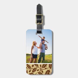 Custom Photo Oak leaf acorn background Luggage Tag