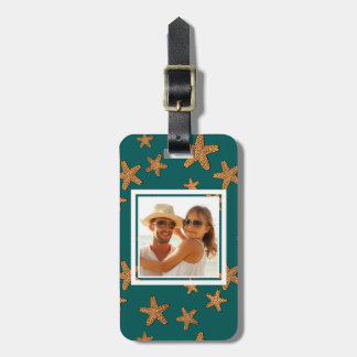 Custom Photo Orange Starfish Pattern Luggage Tag