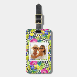 Custom Photo Orchid Begonia And Palm Leaves Luggage Tag