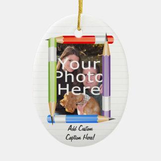 Custom Photo Oval Teacher/School Christmas Ornament