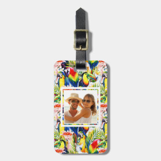 Custom Photo Parrots And Palm Leaves Luggage Tag