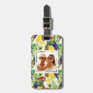 Custom Photo Parrots And Tropical Fruit Luggage Tag