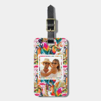 Custom Photo Parrots & Palm Leaves Luggage Tag
