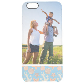 Custom Photo Pastel Nautical Pattern Clear iPhone 6 Plus Case