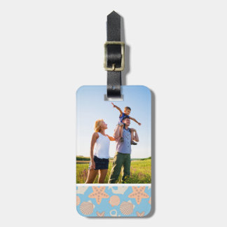 Custom Photo Pastel Nautical Pattern Luggage Tag