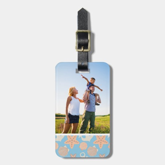 Custom Photo Pastel Nautical Pattern Luggage Tag