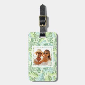Custom Photo Pastel Tropical Palm Leaves Luggage Tag