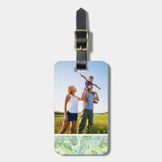 Custom Photo Pastel Tropical Palm Leaves Luggage Tag