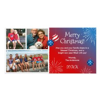 Custom Photo Patriotic Christmas Cards