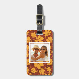 Custom Photo Pattern with autumn chestnut leaves Luggage Tag