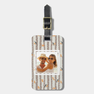 Custom Photo Pattern with autumn trees and birds Luggage Tag
