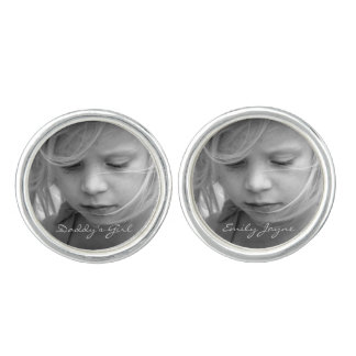 Custom photo personalized daddy's girl cufflinks
