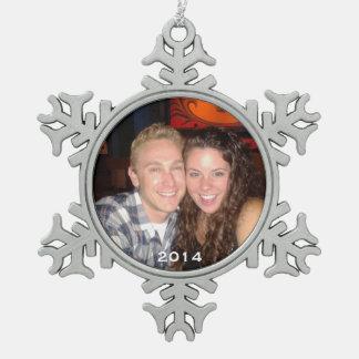 Custom Photo Pewter Snowflake Christmas Ornament