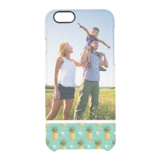 Custom Photo Pineapples On Geometric Pattern Clear iPhone 6/6S Case
