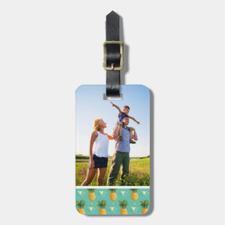 Custom Photo Pineapples On Geometric Pattern Luggage Tag