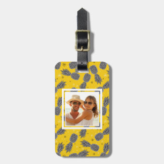 Custom Photo Pineapples On Gold Luggage Tag