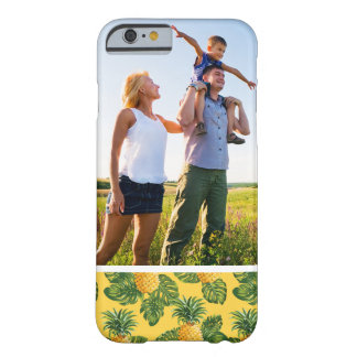 Custom Photo Pineapples & Tropical Leaves On Gold Barely There iPhone 6 Case