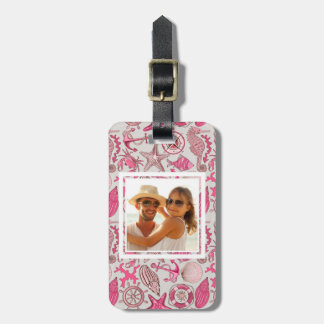 Custom Photo Pink Sea Pattern Luggage Tag