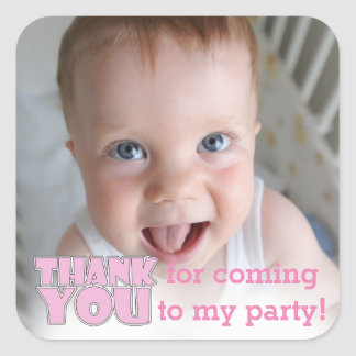 custom photo pink thank you for coming to my party square sticker