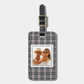 Custom Photo Pixel Plaid in Grey with Red Stripe Luggage Tag