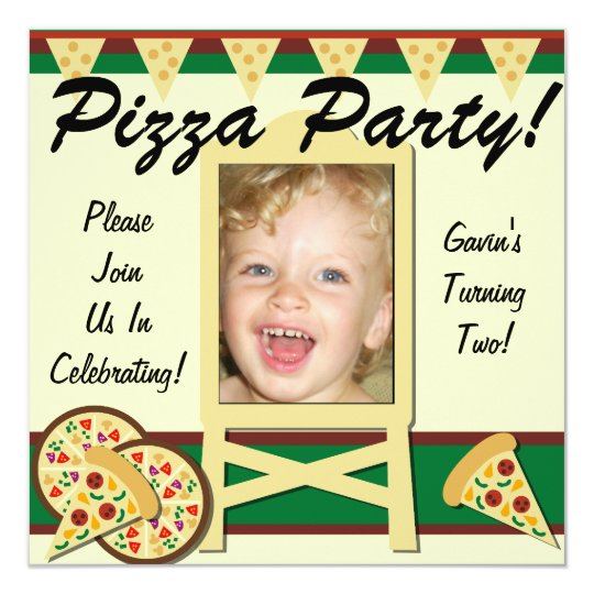Custom Photo Pizza Party Invitations