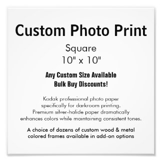 "Custom Photo Print - Square 10"" x 10"""