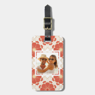 Custom Photo Red And Gold Floral Lace Pattern Luggage Tag