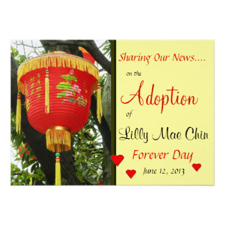 Custom Photo Red Lantern Adoption Announcement
