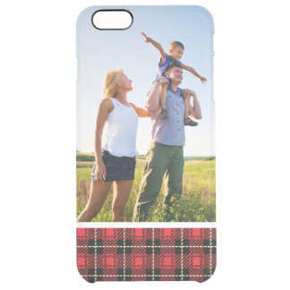 Custom Photo Red Plaid Background Clear iPhone 6 Plus Case