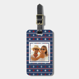 Custom Photo Red White And Blue Nautical Pattern Luggage Tag