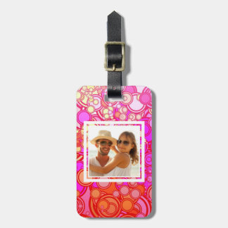 Custom Photo Retro Circles Luggage Tag